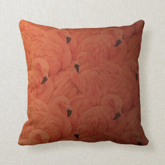 Tropical Pink Flamingos Throw Pillow