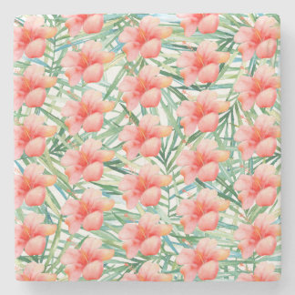Tropical Pink Hibiscus Watercolor Floral Stone Coaster