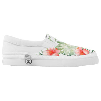 Tropical Pink Hibiscus Watercolor Flowers Slip-On Shoes