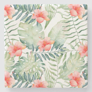 Tropical Pink Hibiscus Watercolor Flowers Stone Coaster