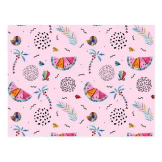 Tropical Pink Memphis Style Pattern Postcard