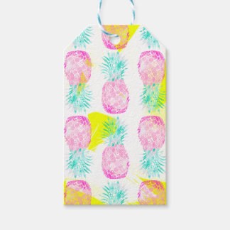 Tropical pink mint green yellow pineapples pattern