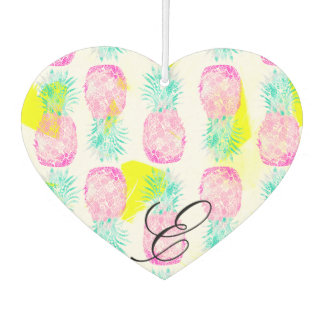 Tropical pink mint green yellow pineapples pattern car air freshener