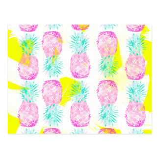 Tropical pink mint green yellow pineapples pattern postcard