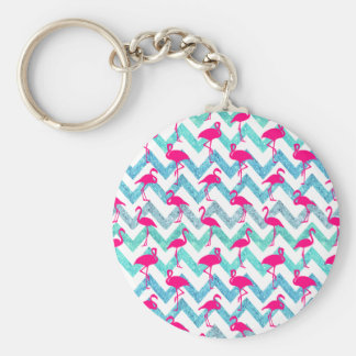 Tropical Pink Neon Flamingos Teal Glitter Chevron Basic Round Button Key Ring