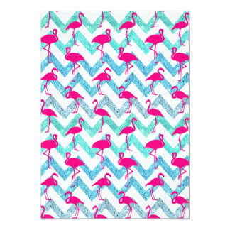 Tropical Pink Neon Flamingos Teal Glitter Chevron Card