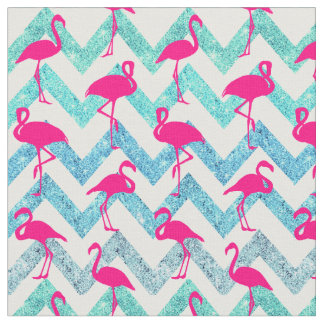 Tropical Pink Neon Flamingos Teal Glitter Chevron Fabric