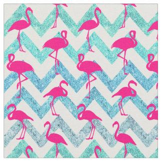 Tropical Pink Neon Flamingos Teal Glitter Chevron Fabric