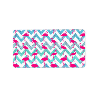 Tropical Pink Neon Flamingos Teal Glitter Chevron Label