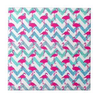 Tropical Pink Neon Flamingos Teal Glitter Chevron Small Square Tile