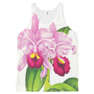 Tropical Pink Orchid Flowers Floral Art All-Over Print Tank Top
