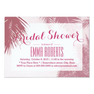 Tropical Pink Palm Tree Bridal Shower 13 Cm X 18 Cm Invitation Card
