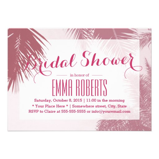 Tropical Pink Palm Tree Bridal Shower Personalized Invitation