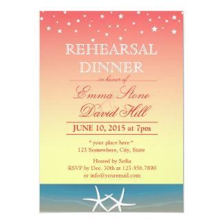 Tropical Pink Summer Beach Rehearsal Dinner 13 Cm X 18 Cm Invitation Card