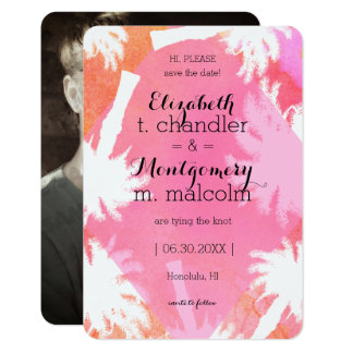 Tropical Pink Summer Photo Save the Dates Card