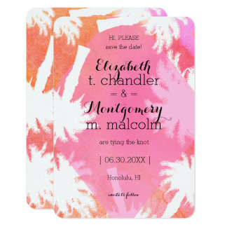 Tropical Pink Summer Save the Dates Card