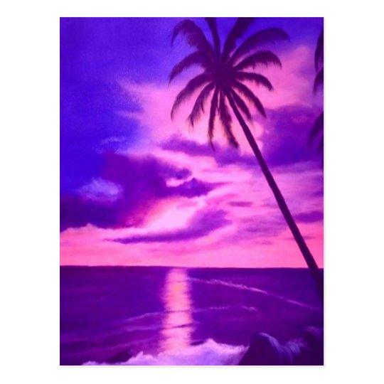 Tropical Pink Sunset Postcard