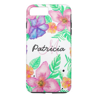 Tropical pink turquoise watercolor floral monogram iPhone 7 plus case