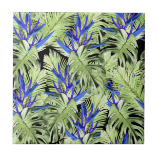 Tropical plant 2 small square tile