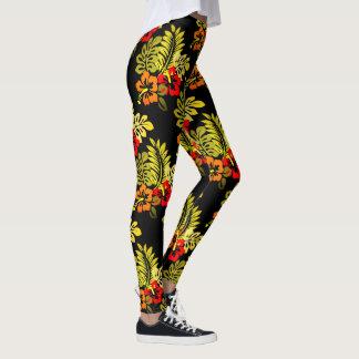 Tropical Plant Hibiscus Flower Island Legging