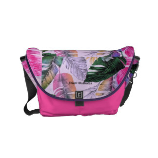 Tropical Plant Pattern Messenger Bag