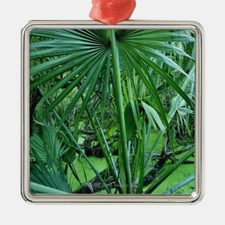 Tropical plants in salt pond Silver-Colored square decoration