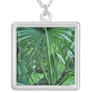Tropical plants in salt pond square pendant necklace