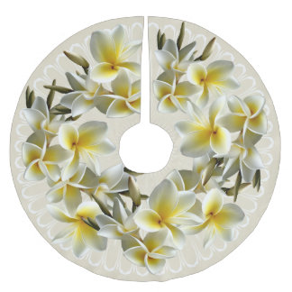 Tropical Plumeria Champagne Christmas Tree Skirt Brushed Polyester Tree Skirt