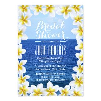 Tropical Plumeria Floral Frame Beach Bridal Shower 5x7 Paper Invitation Card