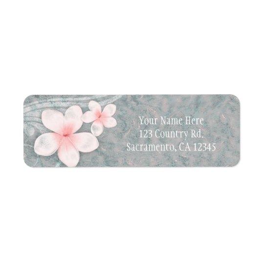 Tropical Plumeria Flower Grey Pink Summer Party Return Address Label