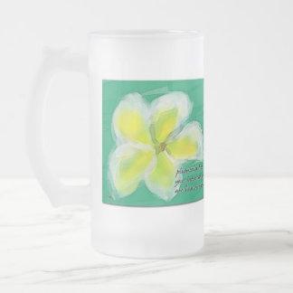 Tropical Plumeria Haiku Art Frosty Mug