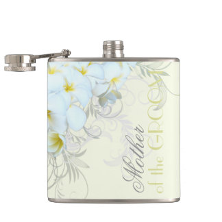 Tropical Plumeria Mother of the Groom Bride Flask