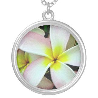 Tropical Plumeria Round Pendant Necklace