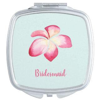 Tropical Plumeria Pink Watercolor Compact Mirror