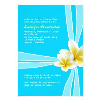 "Tropical Plumerias on Aqua Bridal Shower Invites 5"" X 7"" Invitation Card"