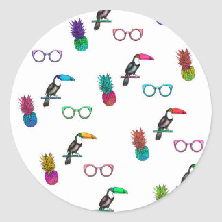 Tropical Print Classic Round Sticker