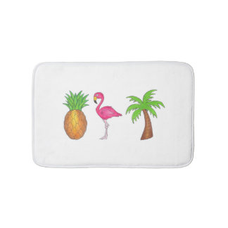 Tropical Print Palm Tree Pineapple Flamingo Mat