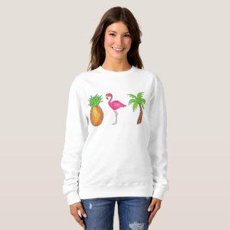 Tropical Print Palm Tree Pineapple Pink Flamingo Sweatshirt