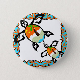 Tropical-print-turtle 6 Cm Round Badge