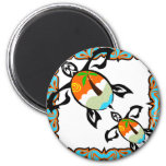 Tropical-print-turtle 6 Cm Round Magnet