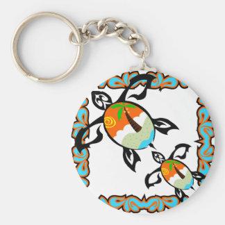 Tropical-print-turtle Key Ring