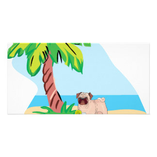 tropical pug photo greeting card