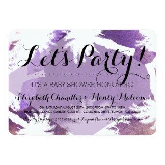 Tropical Purple Baby Shower Invite