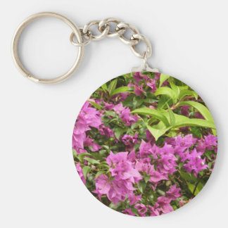 Tropical Purple Bougainvillea Basic Round Button Key Ring