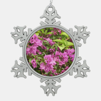 Tropical Purple Bougainvillea Pewter Snowflake Decoration
