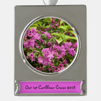 Tropical Purple Bougainvillea Silver Plated Banner Ornament