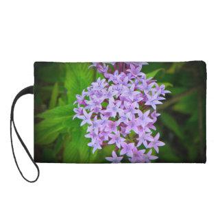 Tropical Purple Floral Small Bag Wristlet Clutch