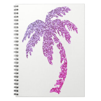 Tropical Purple Glitter Palm Tree Custom Notebook