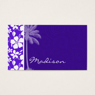 Tropical Purple Hibiscus Business Card