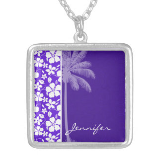 Tropical Purple Hibiscus Personalized Necklace